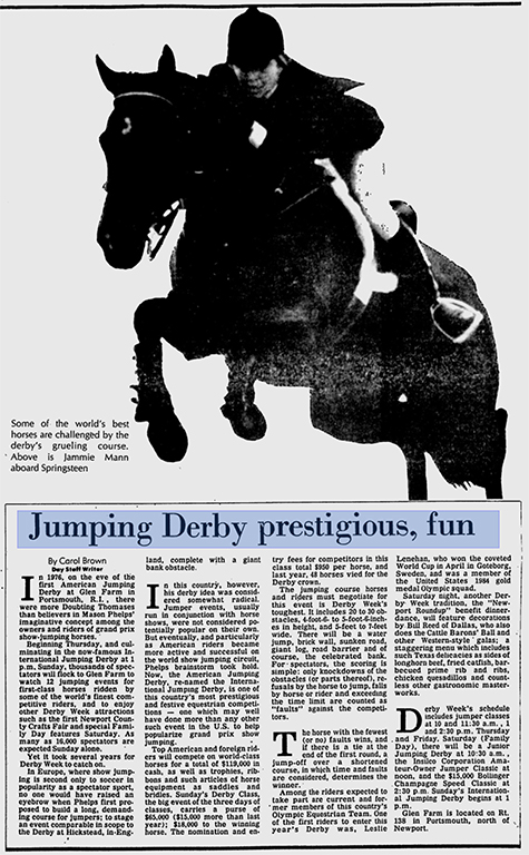 american jumping derby, article, The Day, newspaper