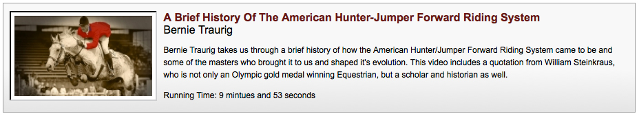 History of the American Hunter Jumper Forward Riding System