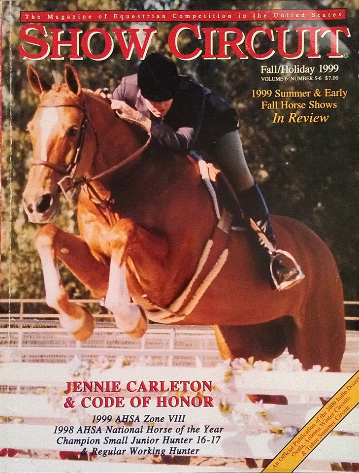 jennie carleton and hunter horse code of honor on cover show circuit magazine