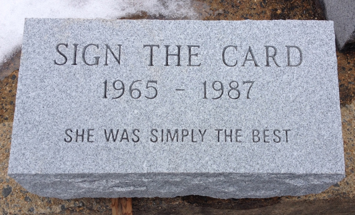 sign the card gravestone