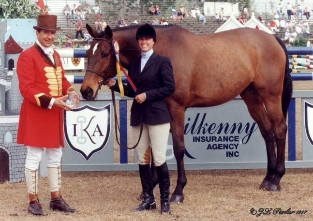 hunter horse western prospect winning a trophy with rider brian baldwin