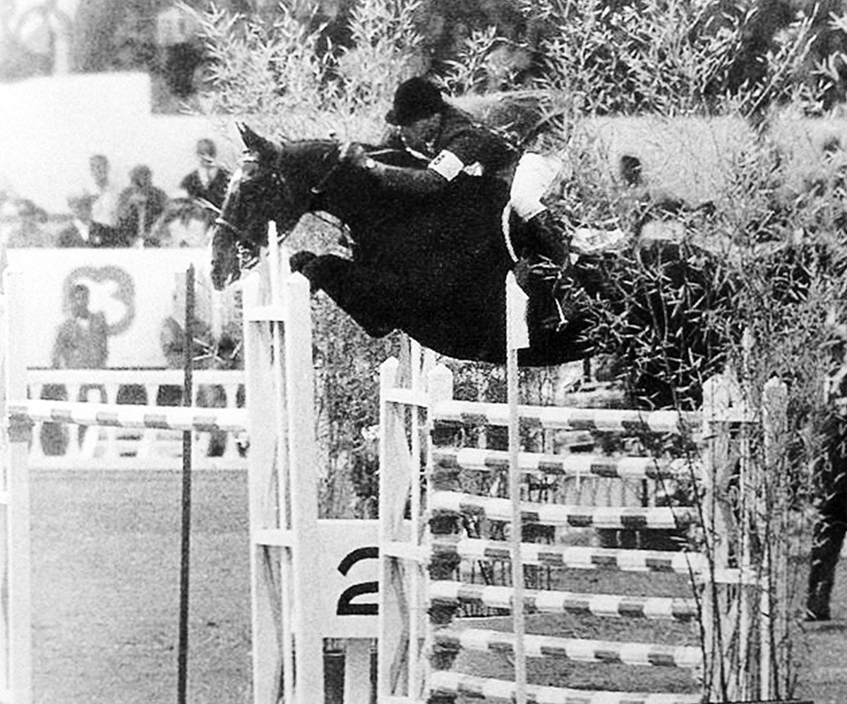 Snowbound with Bill Steinkraus over huge oxer second round '68 Olympics