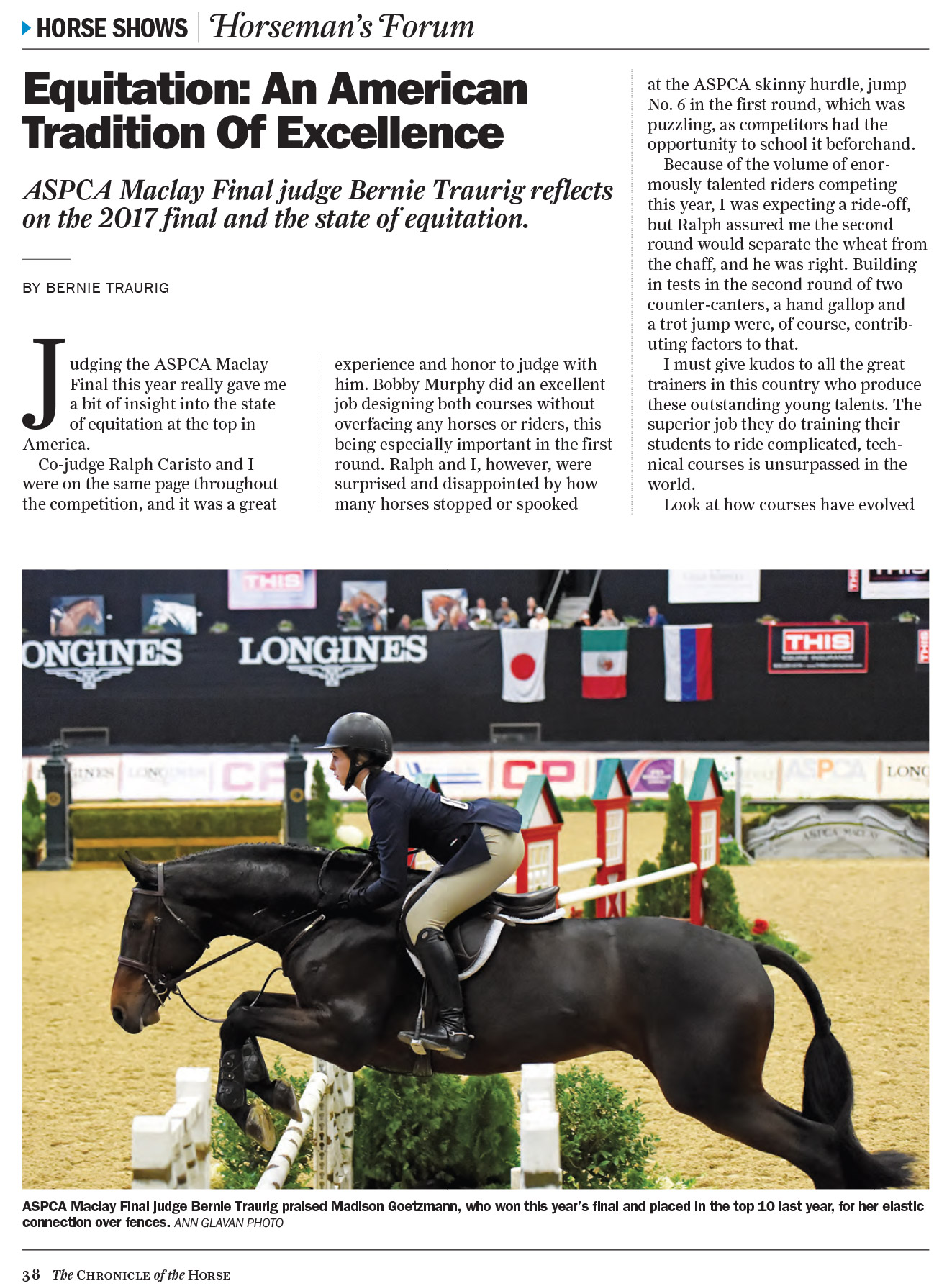 The Chronicle of the Horse - Equitation Article by Bernie Traurig