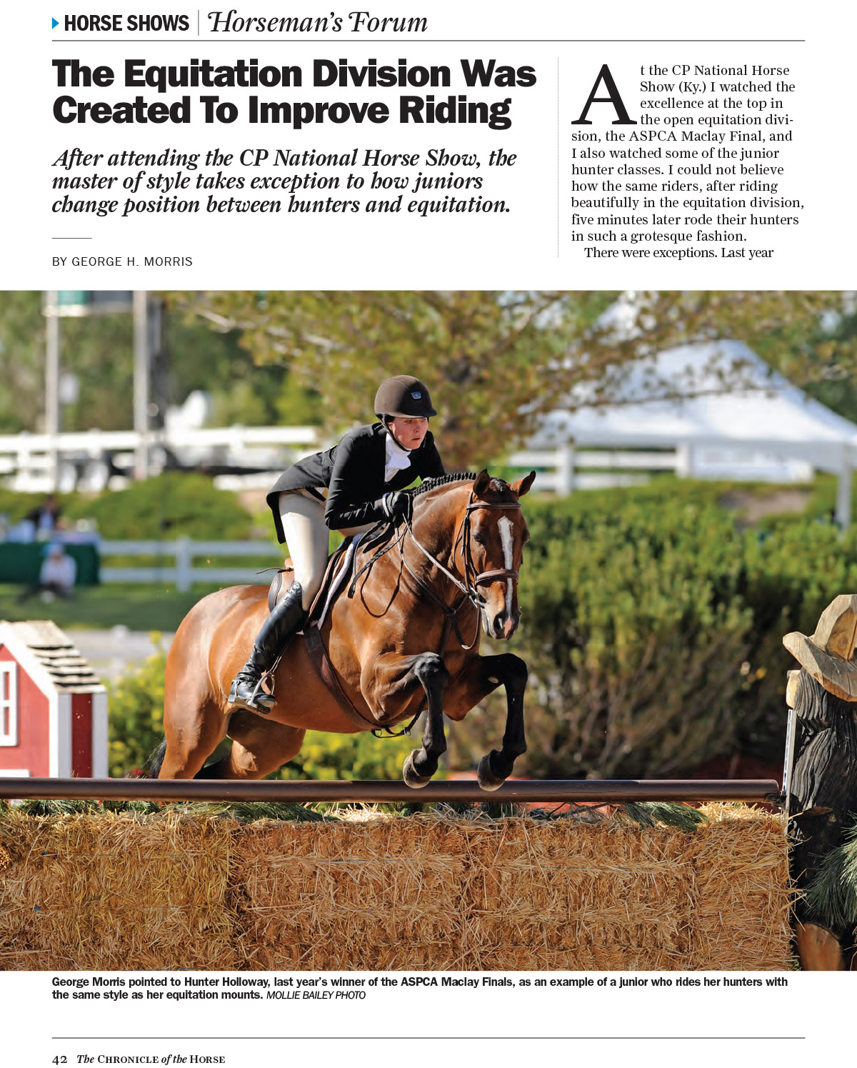 The Chronicle of the Horse - Equitation Article by George Morris